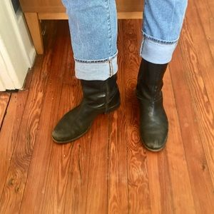 J. Crew Black Leather Midi Boots